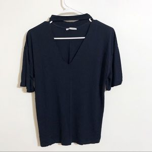 Zara / navy t shirt with neck band / size small